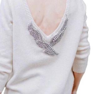 Sweater Crystals Bird White sz 40 M
